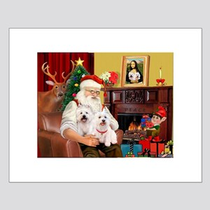 Santa/2 West Highland Small Poster