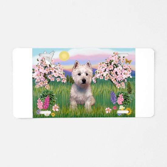 Blossoms & Westie Aluminum License Plate