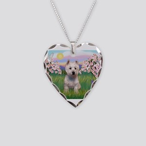 Blossoms & Westie Necklace Heart Charm