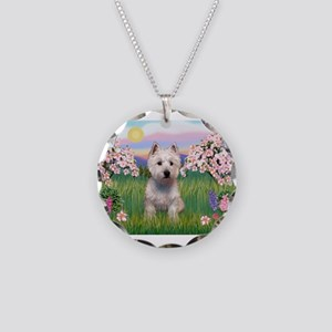 Blossoms & Westie Necklace Circle Charm