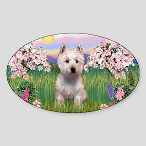 Blossoms & Westie Sticker (Oval)