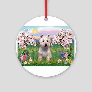 Blossoms & Westie Ornament (Round)