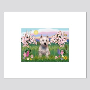 Blossoms & Westie Small Poster