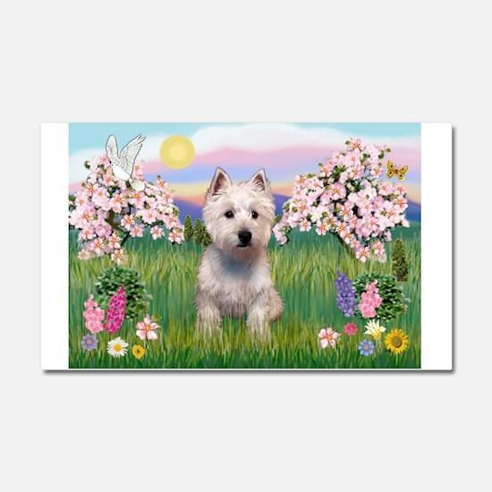 Blossoms & Westie Car Magnet 20 x 12