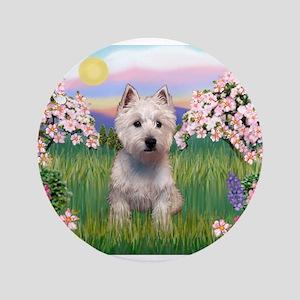 """Blossoms & Westie 3.5"""" Button"""