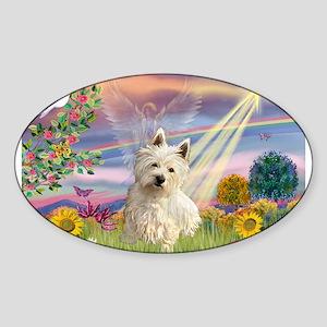 Cloud Angel/Westie #1 Sticker (Oval)