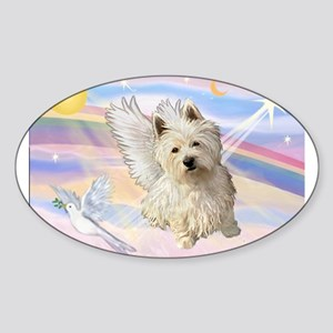 Westie Angel in Clouds Sticker (Oval)