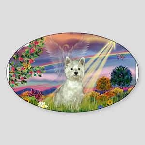 Cloud Angel / Westie Sticker (Oval)