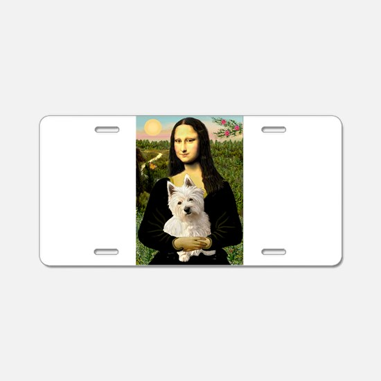 Mona and her Westie Aluminum License Plate