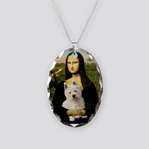 Mona and her Westie Necklace Oval Charm