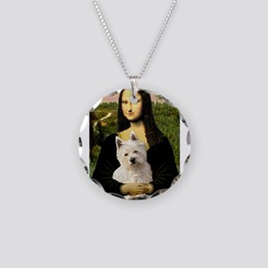 Mona and her Westie Necklace Circle Charm