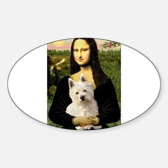 Mona and her Westie Sticker (Oval 10 pk)