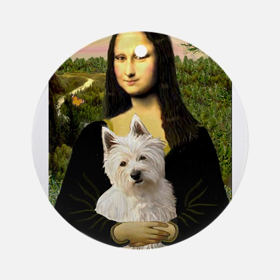 Mona and her Westie Ornament (Round)