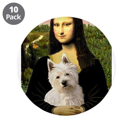 """Mona and her Westie 3.5"""" Button (10 pack)"""