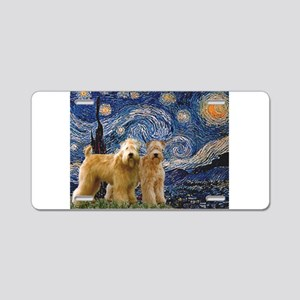 Starry Night & 2 Wheatens Aluminum License Pla