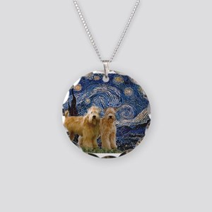 Starry Night & 2 Wheatens Necklace Circle Char