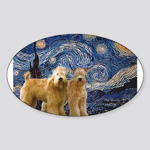 Starry Night & 2 Wheatens Sticker (Oval)