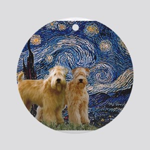 Starry Night & 2 Wheatens Ornament (Round)