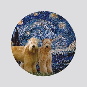 "Starry Night & 2 Wheatens 3.5"" Button"