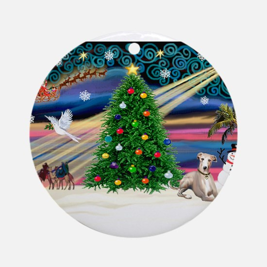 Xmas Magic/Whippet (#2) Ornament (Round)