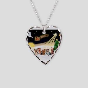 Night Flight/5 Yorkies Necklace Heart Charm