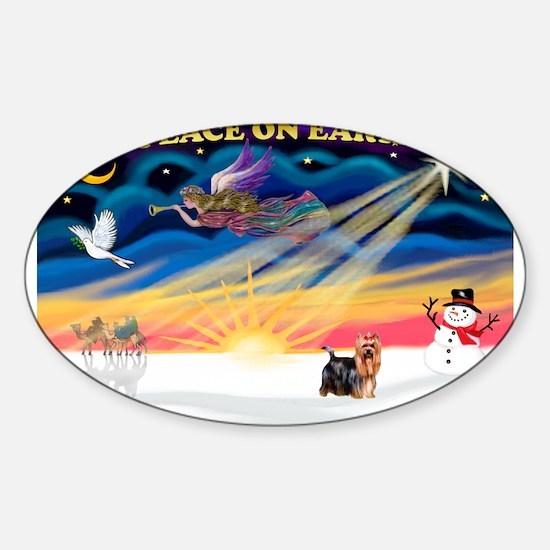 XmasSunrise/Yorkie #9 Sticker (Oval)