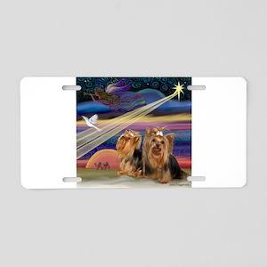 Christmas Star & Yorkie Pair Aluminum License Plat