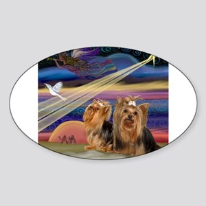 Christmas Star & Yorkie Pair Sticker (Oval)