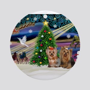 XmasMagic/Yorkies #6&7 Ornament (Round)