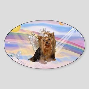 Clouds/Yorkie Angel #7 Sticker (Oval)