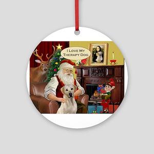 Santa's Yellow Lab (TH) Ornament (Round)