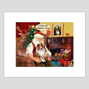 Santa/Sheltie Therapy Small Poster