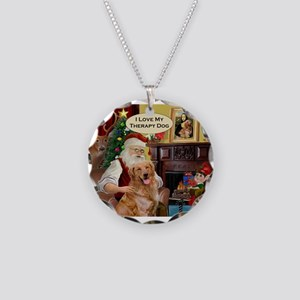 Santa's Golden Therapy Necklace Circle Charm