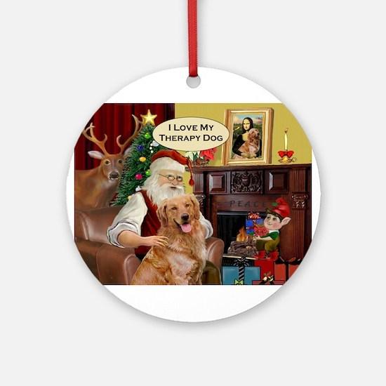 Santa's Golden Therapy Ornament (Round)