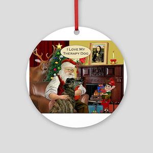 Santa's Brindle Greyt (TH) Ornament (Round)