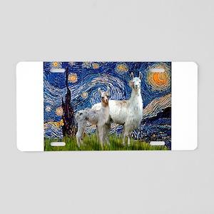 Starry Night Llama Duo Aluminum License Plate
