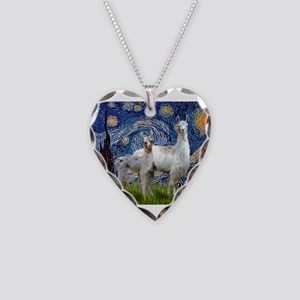 Starry Night Llama Duo Necklace Heart Charm