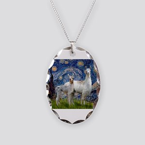 Starry Night Llama Duo Necklace Oval Charm