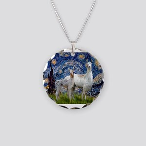 Starry Night Llama Duo Necklace Circle Charm