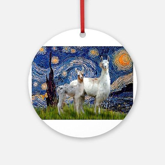 Starry Night Llama Duo Ornament (Round)