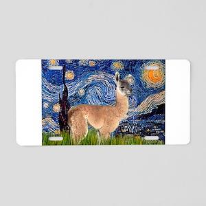 Starry Night Llama Aluminum License Plate