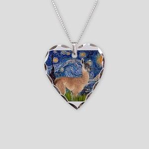 Starry Night Llama Necklace Heart Charm