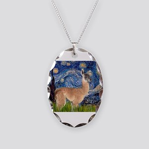 Starry Night Llama Necklace Oval Charm