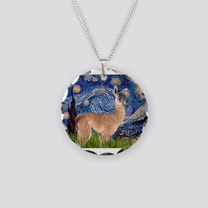 Starry Night Llama Necklace Circle Charm