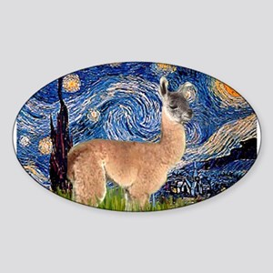 Starry Night Llama Sticker (Oval)