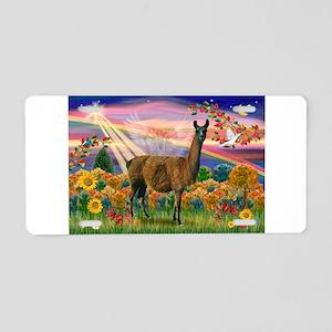 Autumn Angel & Llama Aluminum License Plate