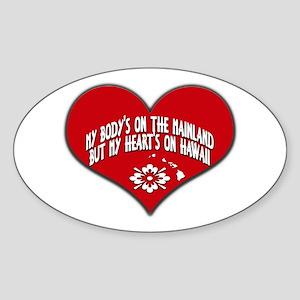 Heart's On Hawaii Oval Sticker