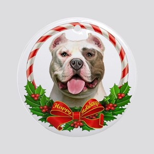 Pit Bull Wreath Ornament (Round)
