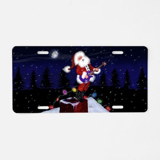 Santa Plays Guitar Aluminum License Plate