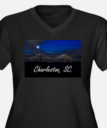 Charleston, SC. Women's Plus Size V-Neck Dark T-Sh